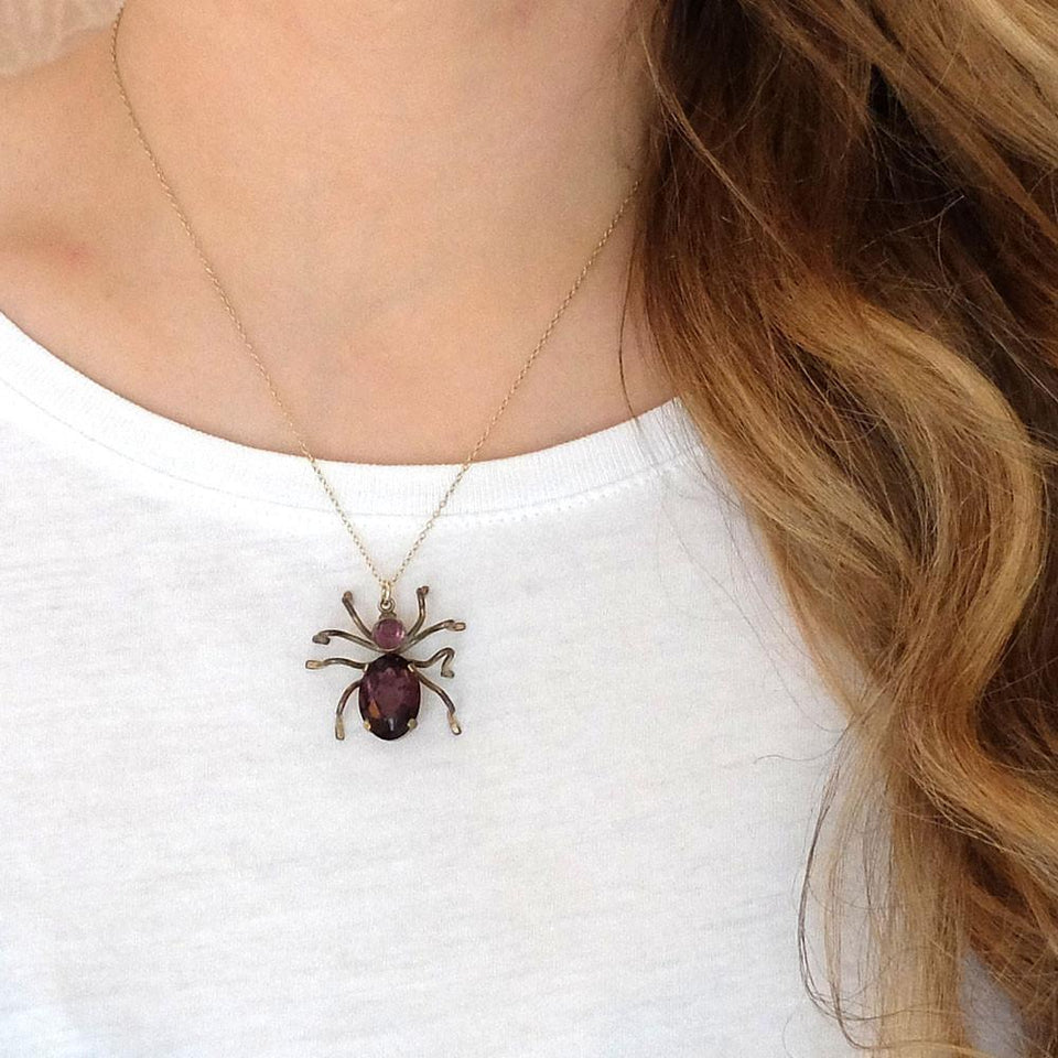 Vintage 1940s Spider Czech Pendant Gold Necklace