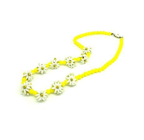 Vintage 1940s Yellow Daisy Beaded Necklace