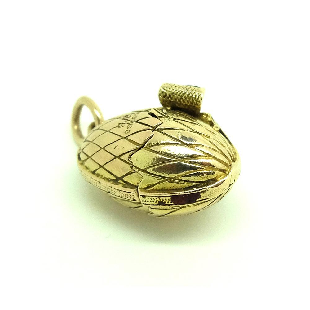 Vintage 1942 George Jensen 9ct Yellow Gold Egg Charm Necklace