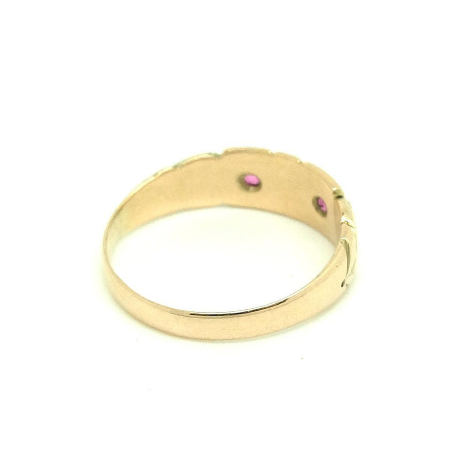 Vintage 1940's Ruby & Pearl 9ct Yellow Gold Ring