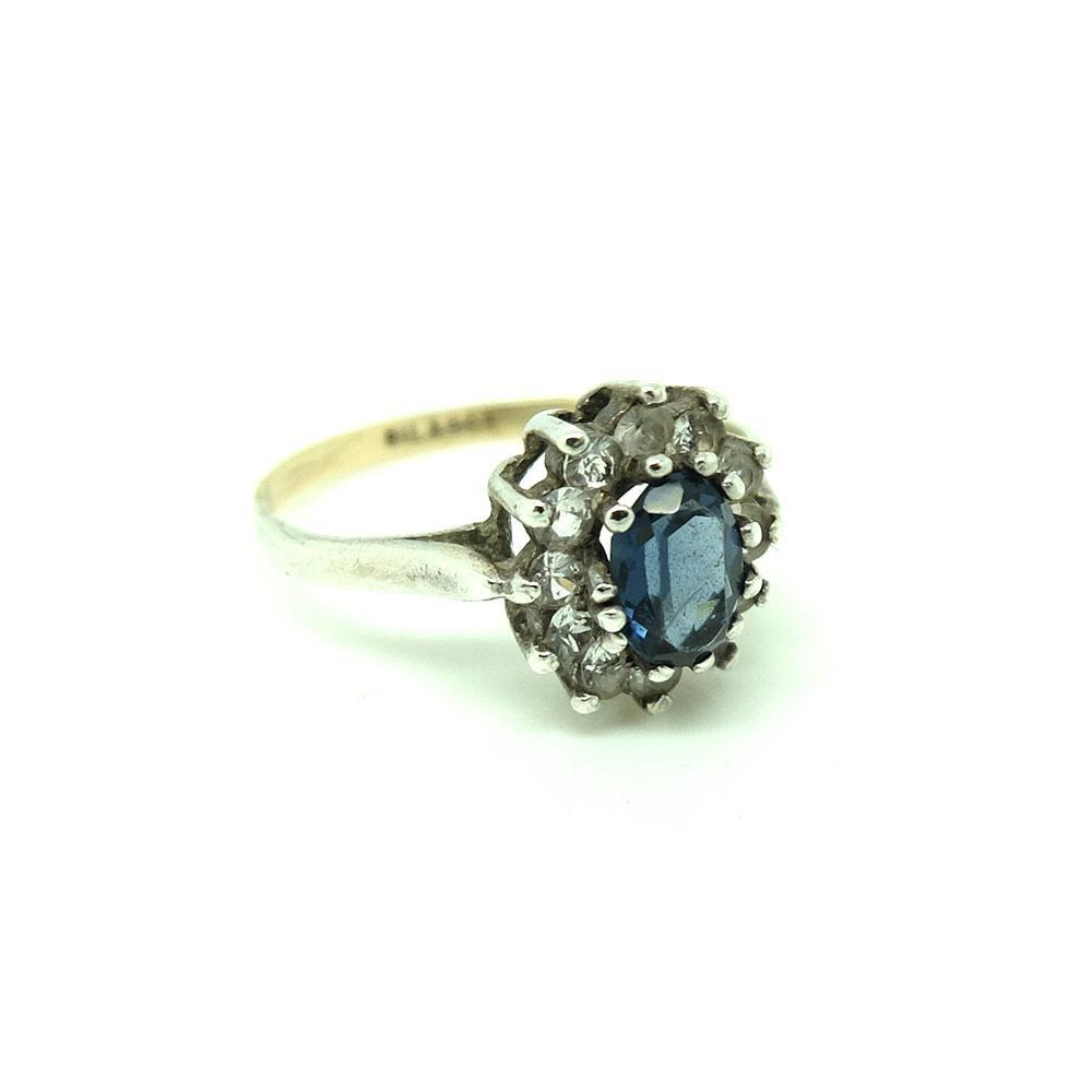 Vintage 1940s Blue Glass Silver & Gold Dress Ring
