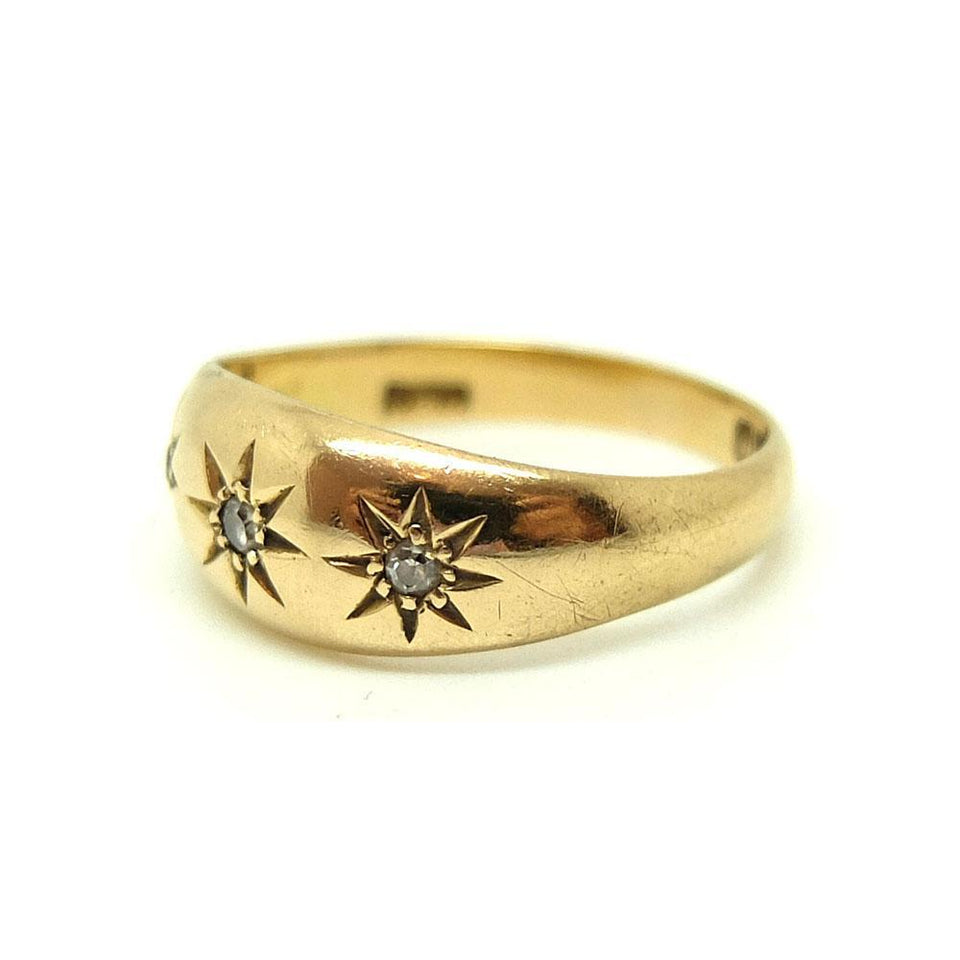 Vintage 1940s Diamond Star & 18ct Yellow Gold Gypsy Ring