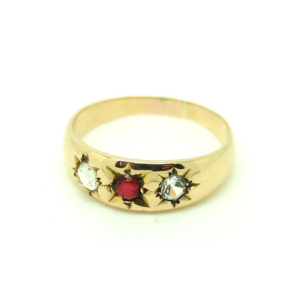 Vintage 1940s Ruby & Diamond Paste Stone 9ct Rose Gold Ring
