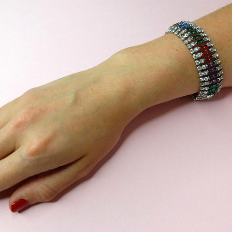 Vintage 1950s Multicoloured Diamante Bracelet
