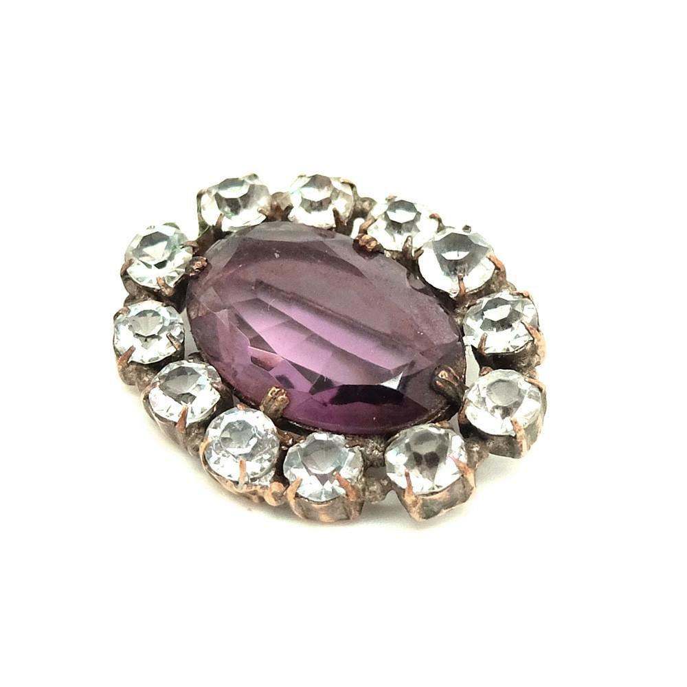 Vintage 1950's Amethyst Glass Diamante Brooch
