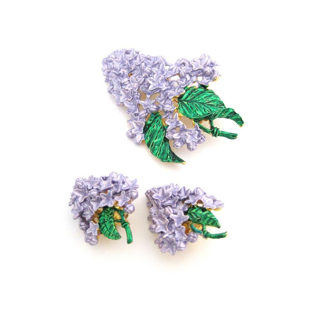 Vintage 1950's Love Lilac Flower Earrings & Brooch