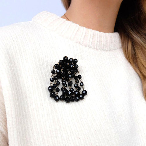 Vintage 1950s Cascade Beaded Black Brooch