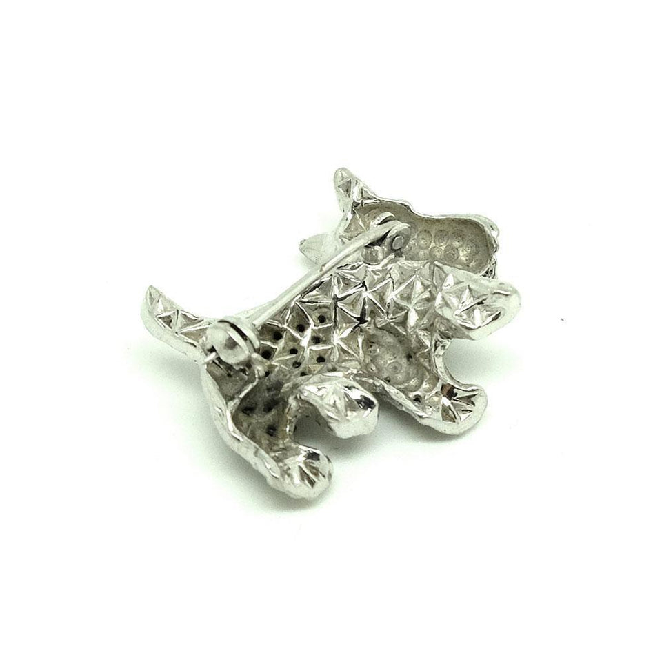 Vintage 1950s Marcasite Scottie Dog Brooch