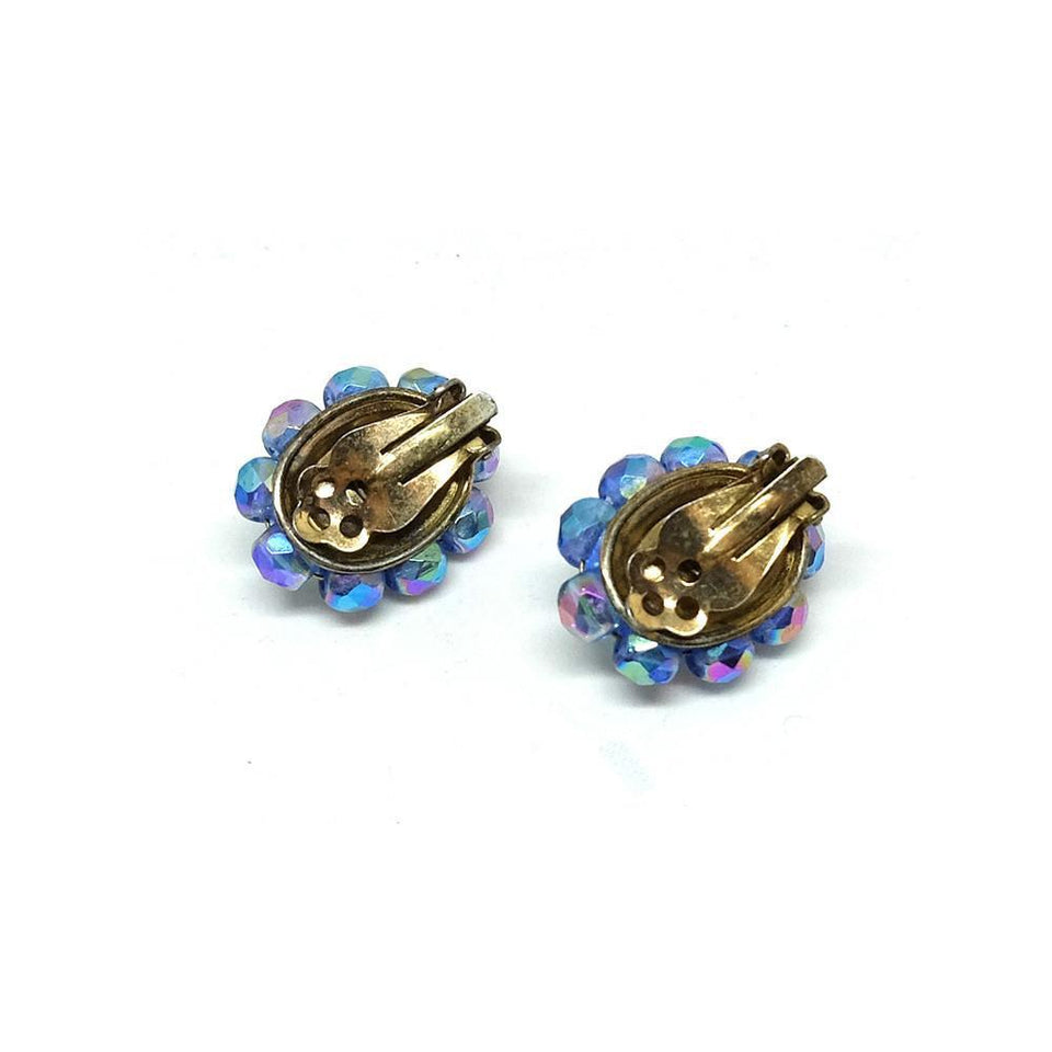 Vintage 1950's Aurora Borealis Blue Clip Earrings