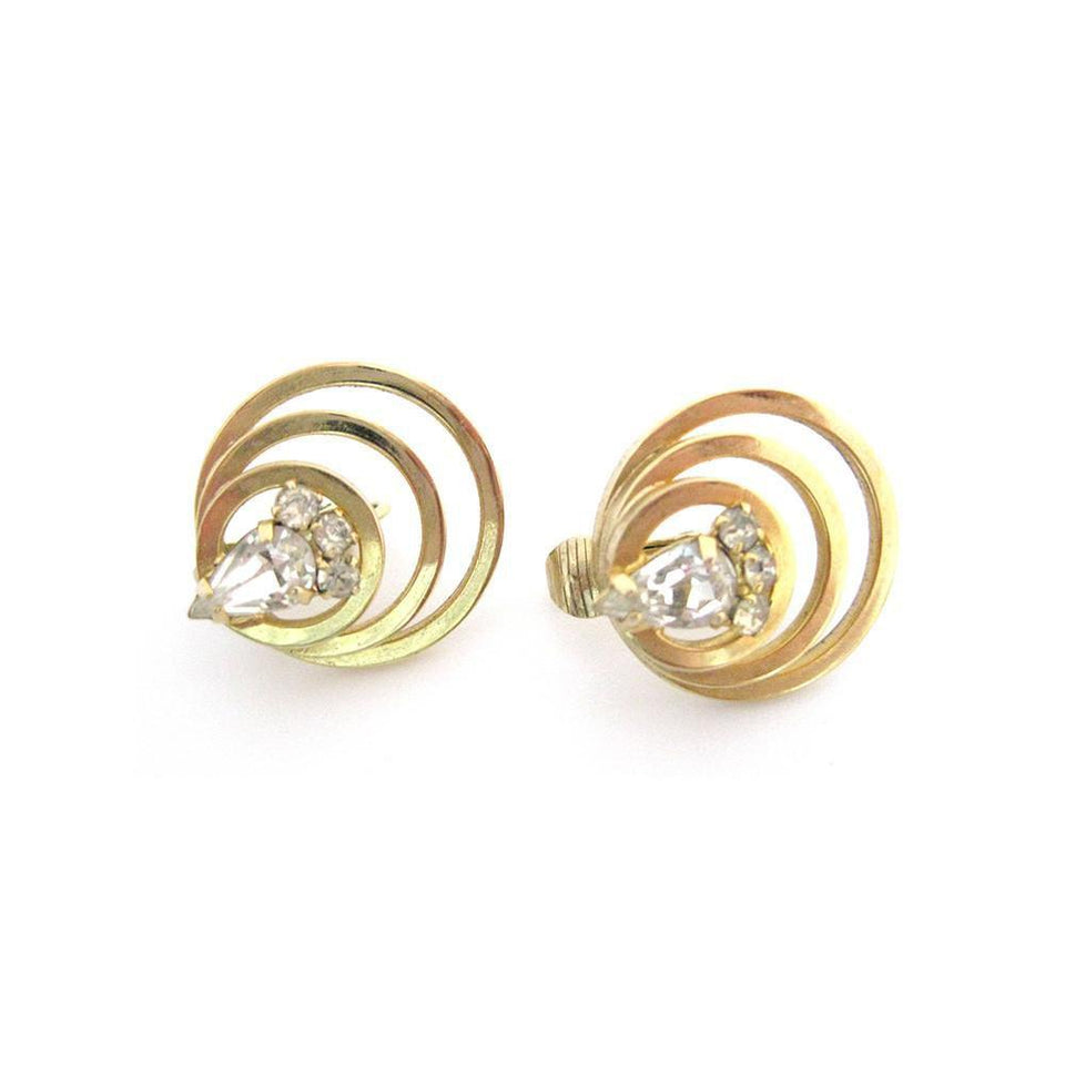 Vintage 1950's Circular Diamante Earrings