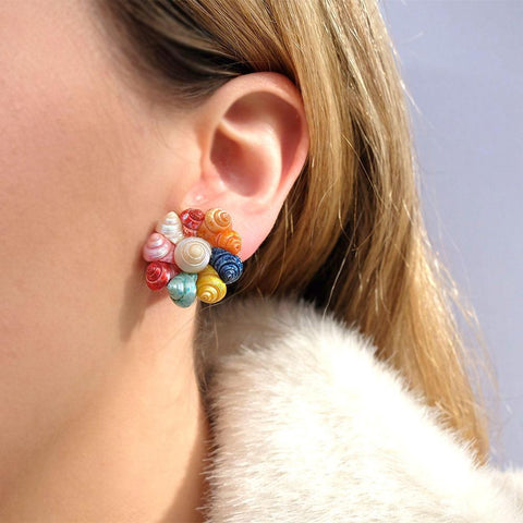 Vintage 1950's Coloured Shell Earrings