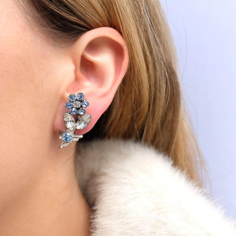 Vintage 1950's Diamante Blue Clip Earrings