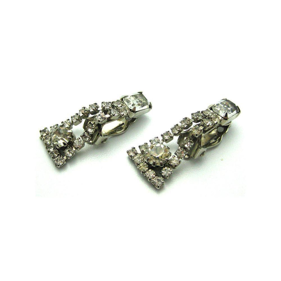 Vintage 1950's Diamante Flared Drop Earrings