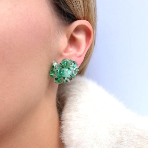 Vintage 1950's Green Glass Earrings