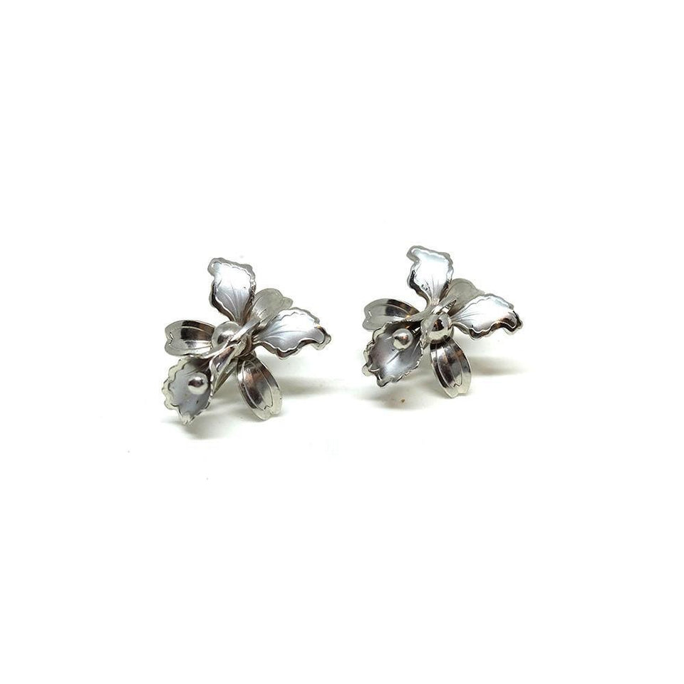 Vintage 1950's Orchid Flower Earrings