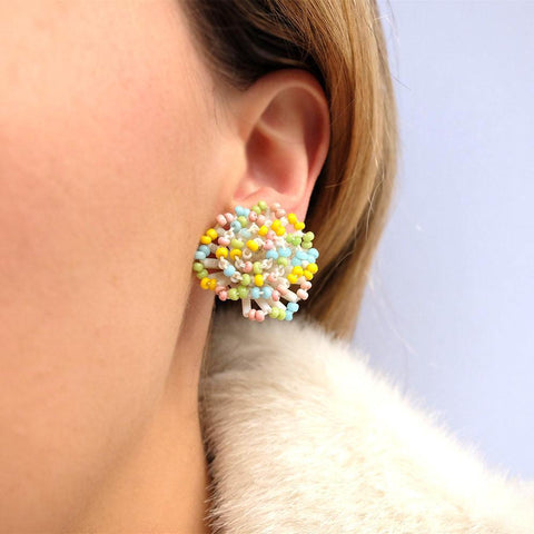 Vintage 1950's Pastel Beaded Earrings