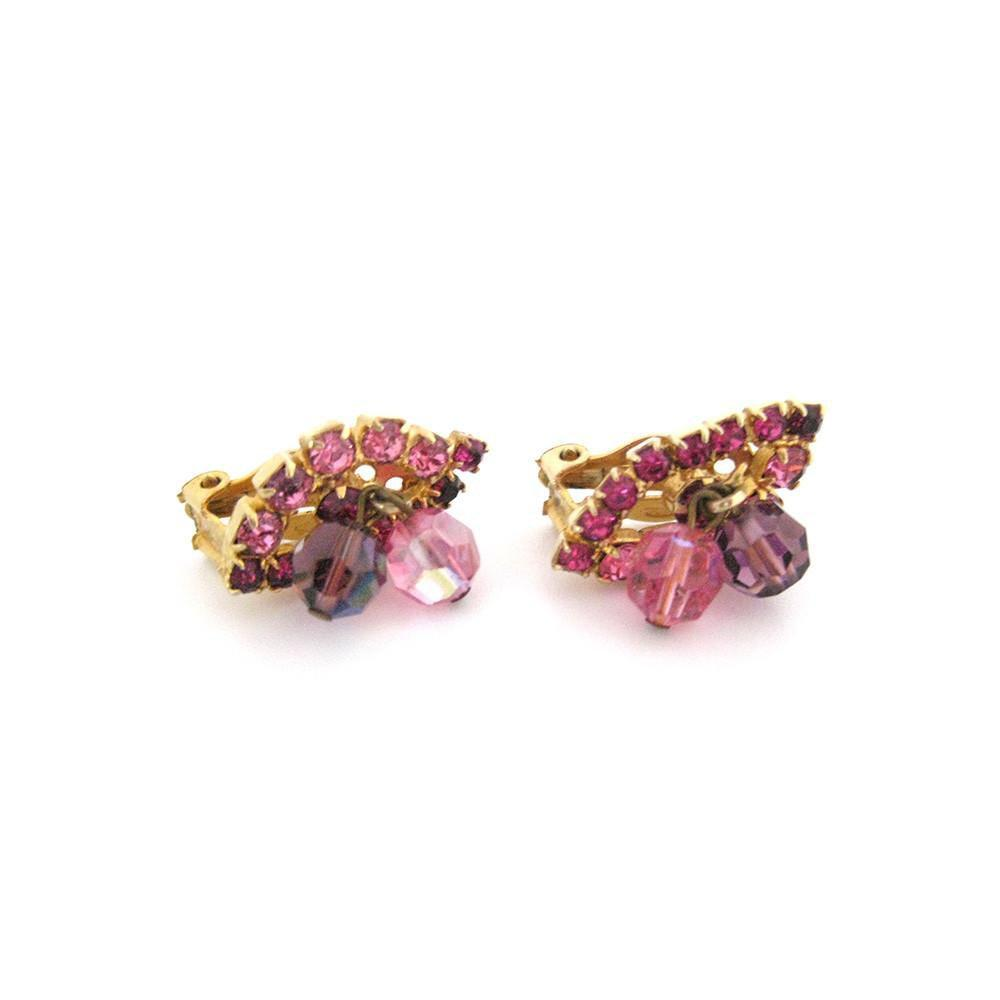 Vintage 1950's Pink Diamante Earrings