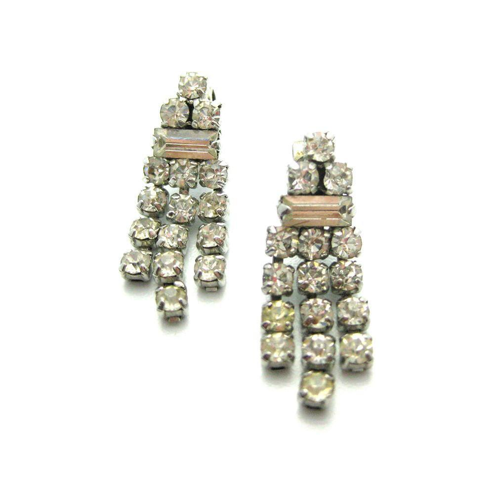 Vintage 1950's Triple Diamante Earrings