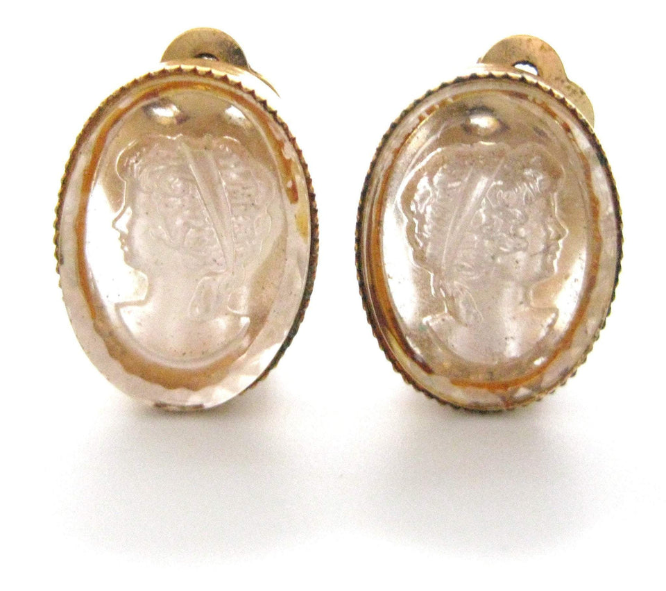 Vintage 1950s Cameo Clip Earrings