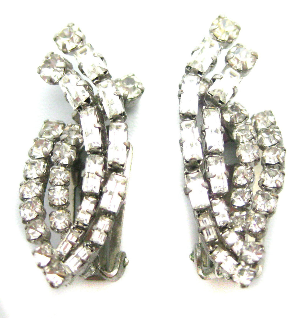 Vintage 1950s Clip Diamante earrings