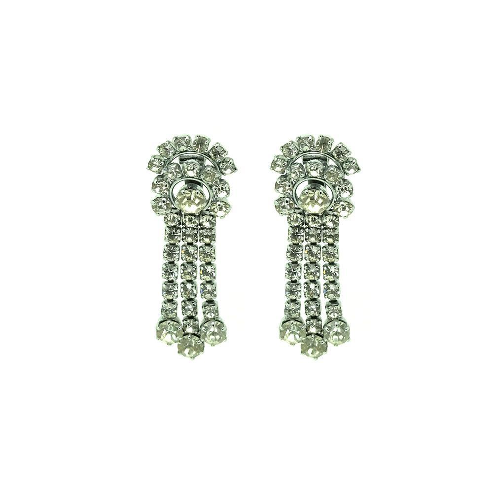 Vintage 1950s Diamante Clip on Earrings
