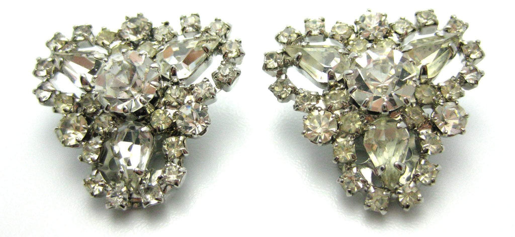 Vintage 1950s Diamante Cluster Clip Earrings
