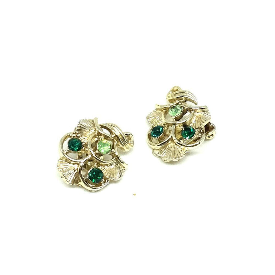 Vintage 1950s Diamante Green Fan Earrings