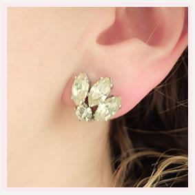 Vintage 1950s Diamante Petal Earrings