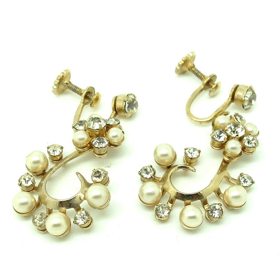 Vintage 1950s Drop Diamante Earrings