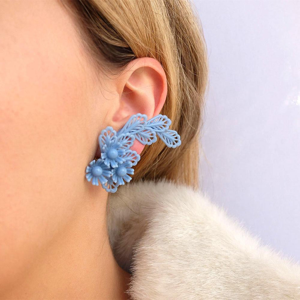 Vintage 1950s Floral Blue Crawler Clip Earrings