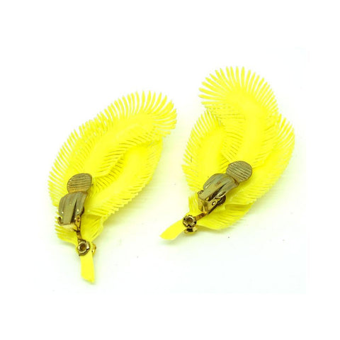 Vintage 1950s Lemon Yellow Clip on Earrings