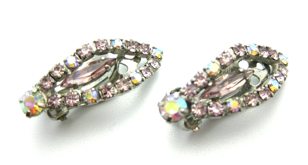 Vintage 1950s Pink Diamante Earrings