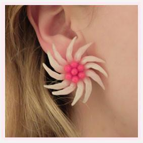 Vintage 1950s Pink Flower Clip Earrings