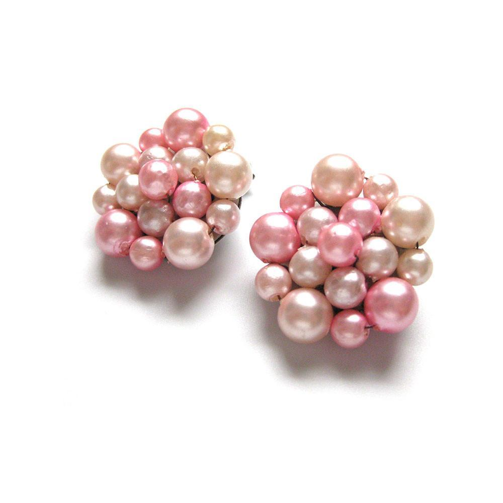 Vintage 1950s Pink Pearl Cluster Earrings