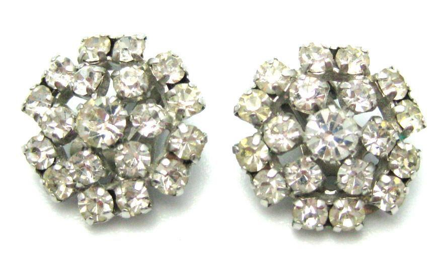 Vintage 1950s Round Diamante Earrings