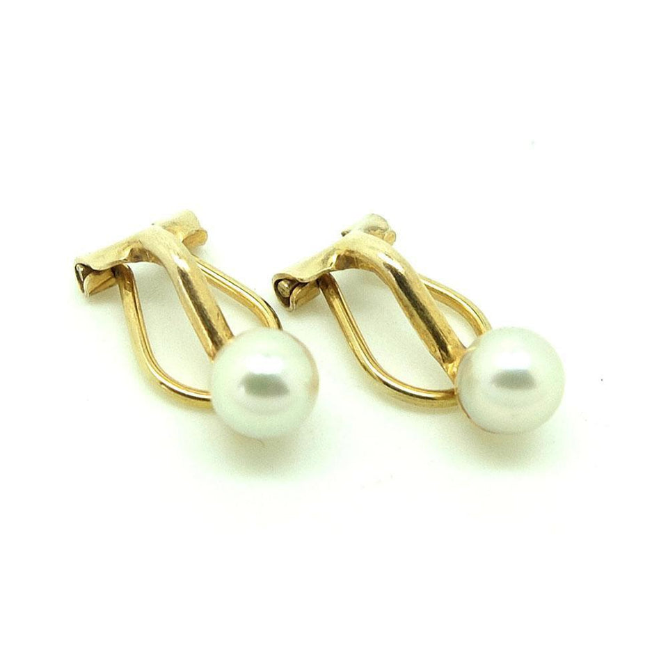Vintage 1950s White Pearl 9ct Gold Clip Earrings