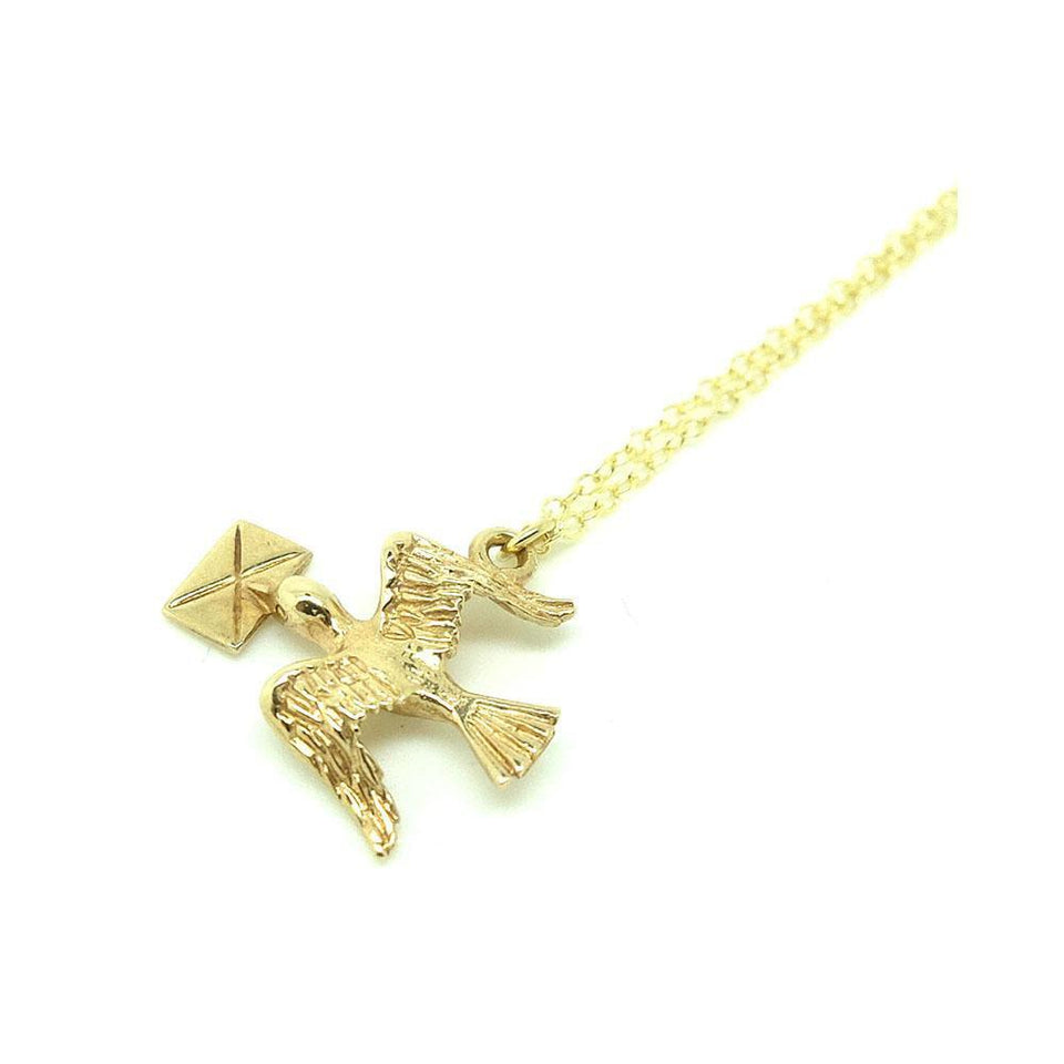 RESERVED - Vintage 1954 9ct Gold Bird Love Letter Charm Necklace