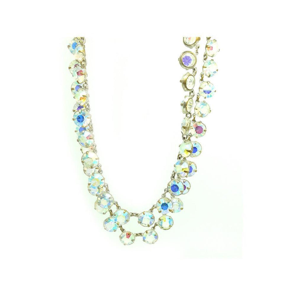 Vintage 1950's Aurora Borealis Crystal Necklace