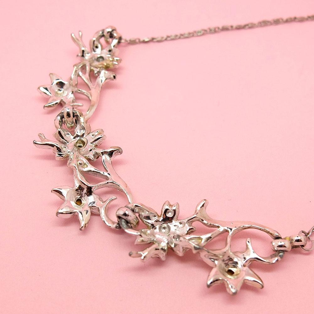 Vintage 1950's Designer Coro Diamanté Flower Choker Necklace