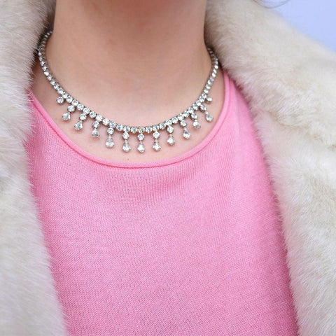Vintage 1950's Diamante Silver Drop Choker Necklace