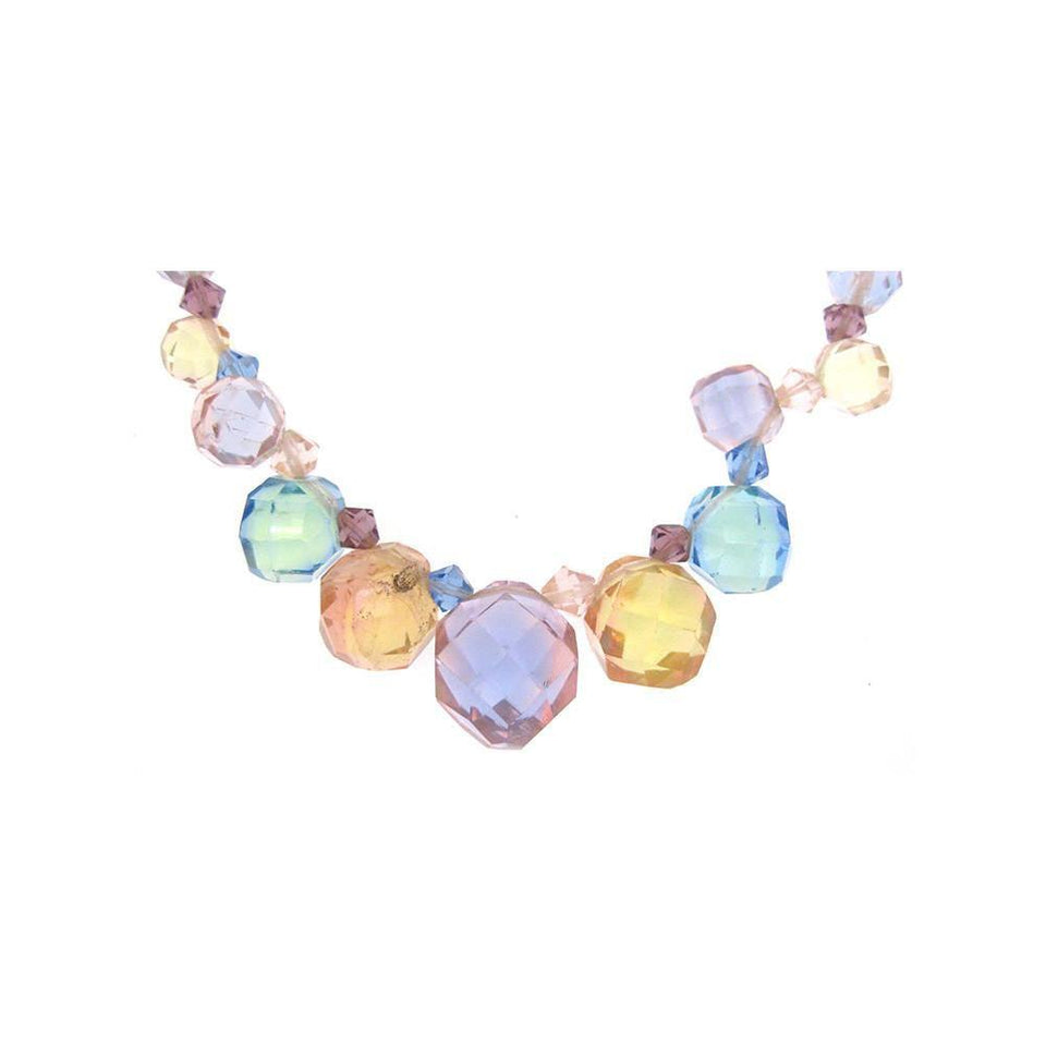 Vintage 1950's Pastel Faceted Glass Necklace