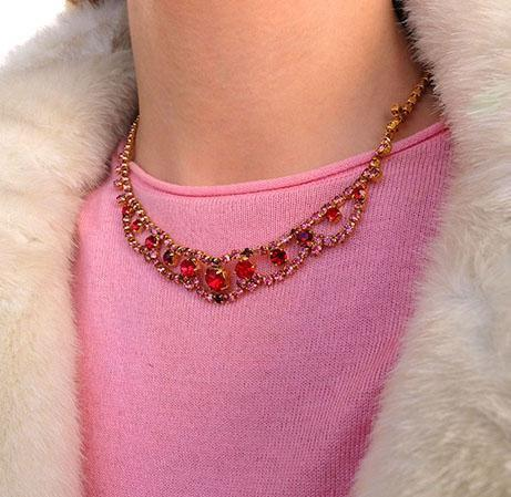 Vintage 1950's Red Diamanté Necklace Choker and Earring Set