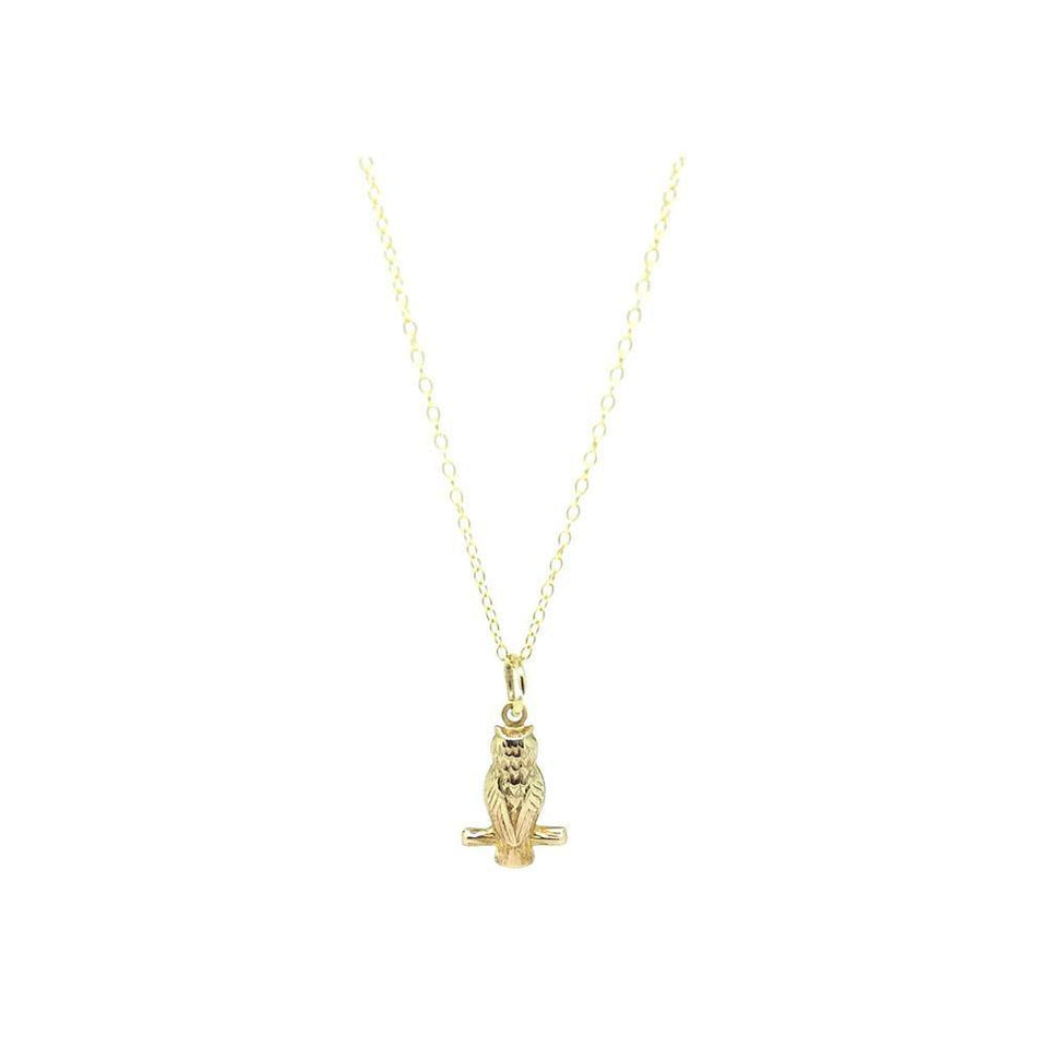 Vintage 1950s 9ct Gold Owl Charm Necklace