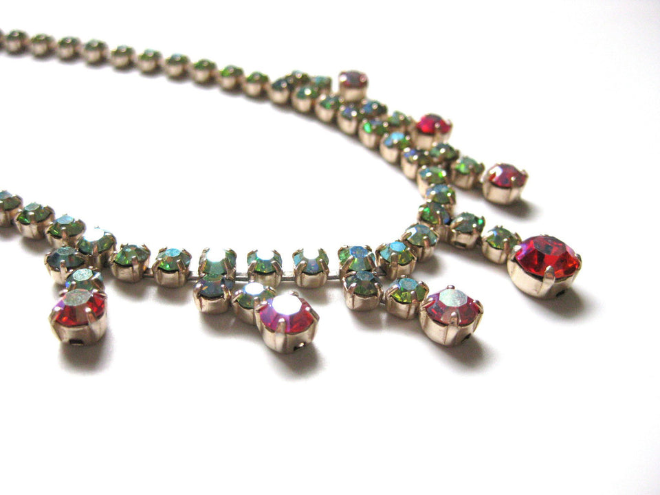 Vintage 1950s Aurora Borealis Drop Necklace