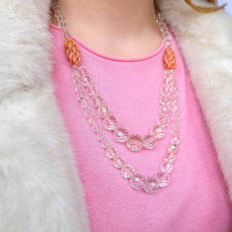 Vintage 1950s Clear Glass Beaded Necklace