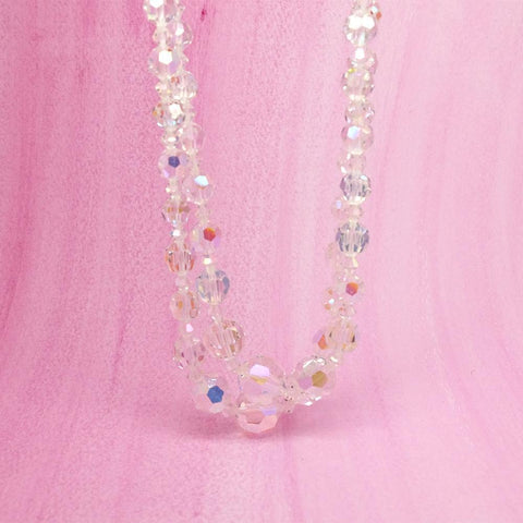 Vintage 1950s Iris Glass Rhinestone Necklace