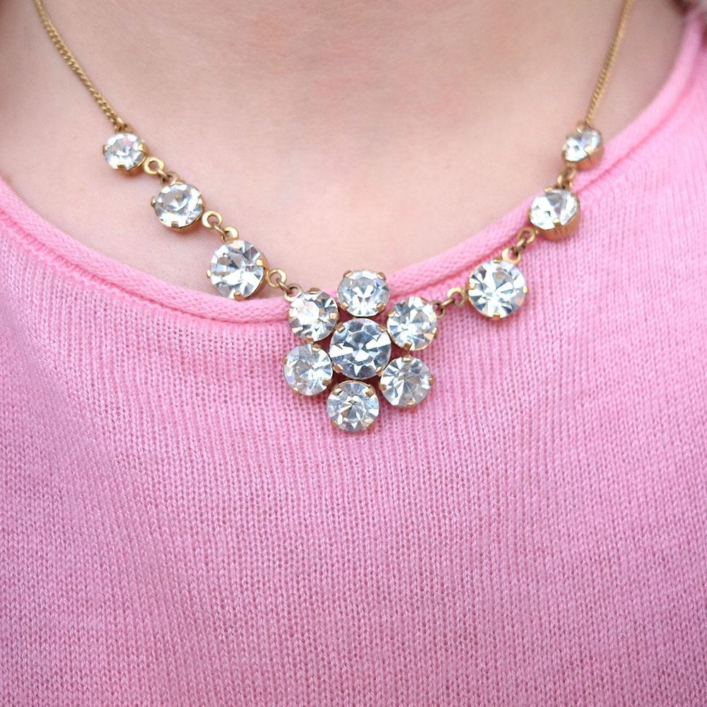 Vintage 1950s Diamante Flower Necklace
