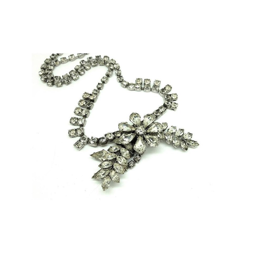Vintage 1950s Diamante Flower Statement Necklace