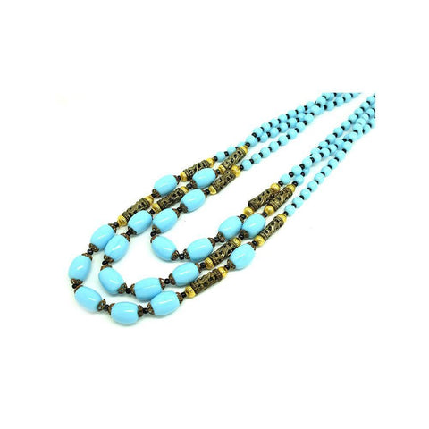 Vintage 1950s Multicoloured Beaded Glass Choker Necklace
