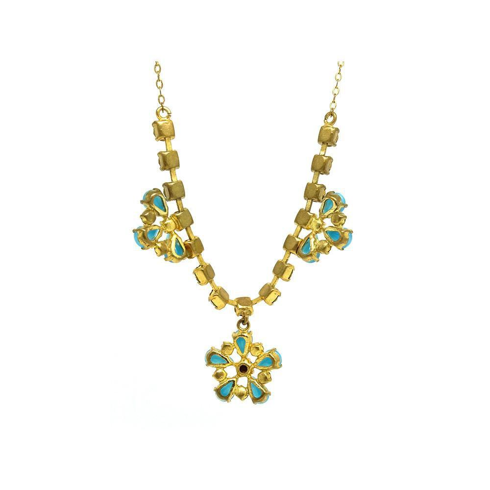 Vintage 1950s Flower Diamante Drop Necklace